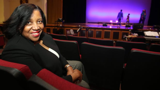 "Performing arts chair Evelyn Collins before rehearsal of ""Dreamgirls"" at Mount Vernon High School on April 26."