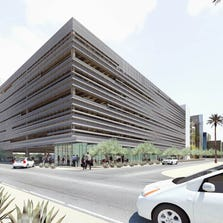 Rendering of the planned Biosciences garage at 5th and Fillmore streets.