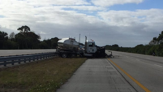 A tanker truck crash shuts down I-95 in both directions near Wickham Road.