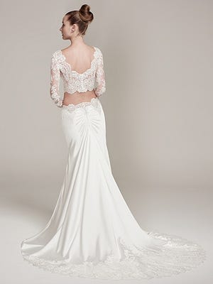 Maggie Sottero designed this two-piece wedding gown or Fiona style.