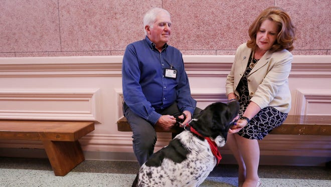 Coleen Connor, executive director of CASA, meets with Tom Roberts, director of the local chapter of Therapy Dogs International, and his dog Bessie Wednesday, April 19, 2017, at the Tippecanoe County Courthouse. Bessie is a flowered Chinese Shar-Pei.