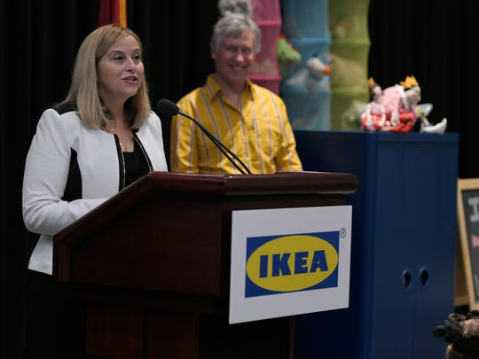 Nashville Mayor Megan Barry helps announce that Ikea is submitting plans for a Nashville store during a news conference at Music City Center on Thursday, May 25, 2017.