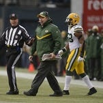 Green Bay Packers head coach Mike McCarthy yells at an official during Sunday's NFC Championship game against the Seattle Seahawks at CenturyLink Field in Seattle, Wash.