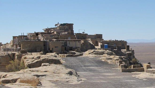 The Hopi village of Walpi, perched atop a 300-foot-tall mesa in northeastern Arizona.