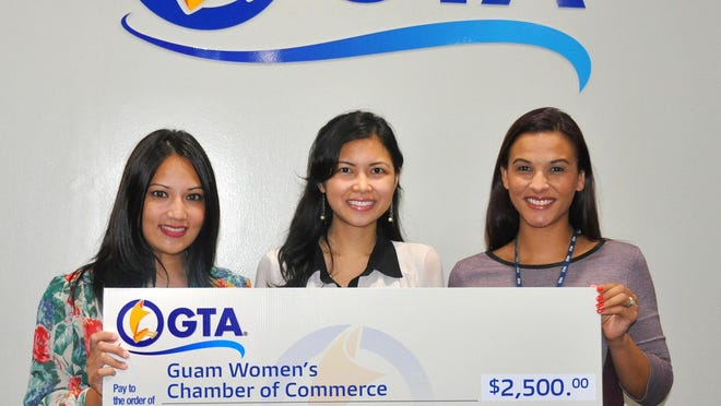 Gold: GTA is a gold sponsor for the upcoming Guam Women's Chamber of Commerce 2nd Annual Golf Tournament scheduled for July 3 at the Onward Talofofo Golf Course. The GWCC's mission is to create an economic community that promotes women entrepreneurship, empowerment, education and training. A check presentation was held recently at the GTA main office in Upper Tumon. Shown are, from left: Michele Catahay Perez, marketing and communications specialist, GTA; Eileen Agahan, executive director, Guam Women's Chamber of Commerce; Kamia Dierking, senior manager, marketing and communications, GTA.