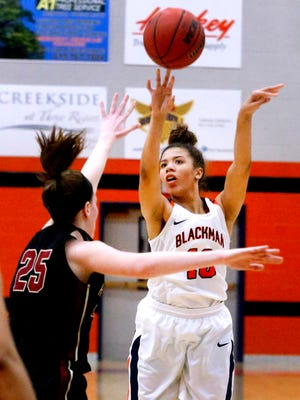 Blackman's Jaida Bond fires a shot during a recent game. Bond was voted area girls basketball player of the week for Jan. 29-Feb. 3.