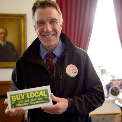 """Lt. Gov. Phil Scott shows off his unique """"buy local"""""""