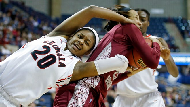 Georgia's Shacobia Barbee (20) was drafted by the New York Liberty in the WNBA Draft. Barbee is a Riverdale graduate.