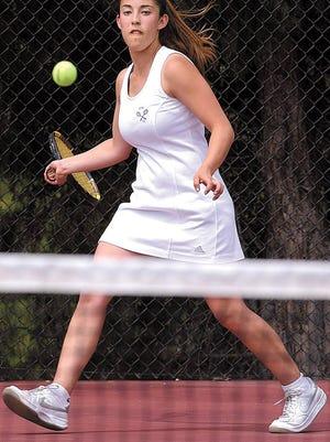 Erika Carrillo-James during her senior year Regional Tennis Match