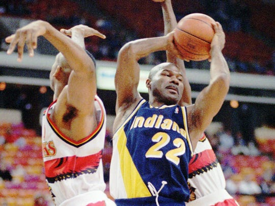 Ricky Pierce (22), one of the NBA's greatest sixth men, had a solid season at the age of 36 for the Indiana Pacers.