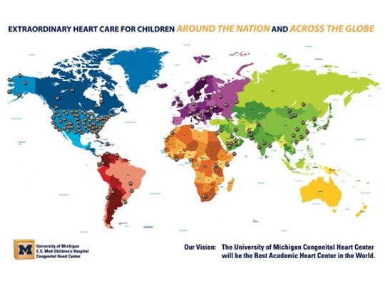 "On this global map, each ""M"" pushpin represents a patient from around the world who has traveled to C.S. Mott Children's Hospital within Michigan Medicine (formerly known as the University of Michigan Health System) for a life-saving and life-changing procedure."