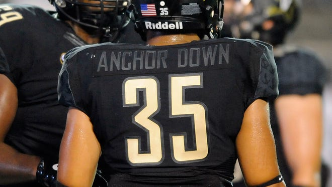 Aug 28, 2014; Nashville, TN, USA; General view of the back of the jersey worn by Vanderbilt Commodores linebacker Darreon Herring (35) during the first half against the Temple Owls at Vanderbilt Stadium. Mandatory Credit: Christopher Hanewinckel-USA TODAY Sports