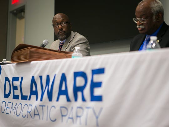 Delaware Democratic candidates for Senate District 2, Bobby Cummings (left) and Sam Guy participate in a public debate at the Route 9 Library and Innovation Center in New Castle.