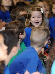 Jasmine Rutter smiles at special guests to the school