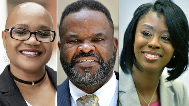 Richmond County Board of Education District 5 candidate Lia Abney, left, incumbent Wayne Frazier, center, and candidate JaVonne Jones, right.