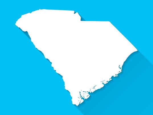 South Carolina Map on Blue Background, Long Shadow, Flat Design
