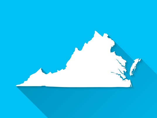 Virginia Map on Blue Background, Long Shadow, Flat Design
