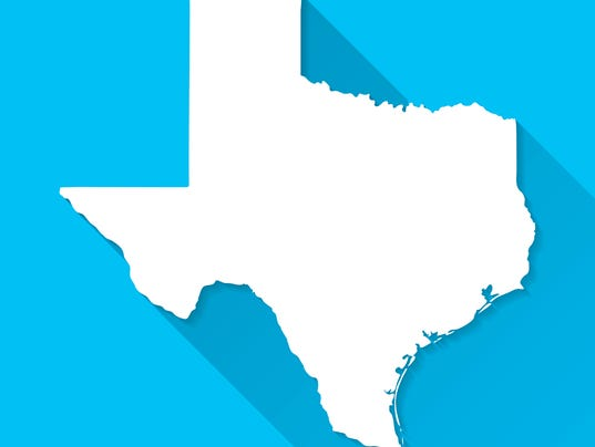 Texas Map on Blue Background, Long Shadow, Flat Design