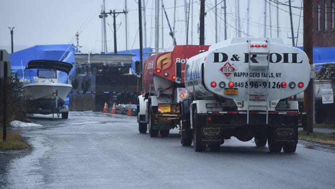 Tanker trucks line up outside of Bottini Fuel's petroleum terminal in New Hamburg on Jan. 3, 2017.