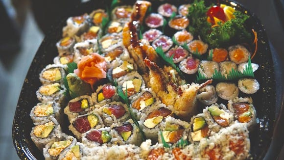 Assorted sushi rolls from Yoka Japanese Sushi Bar & Steak House are pictured.