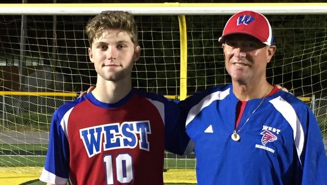 West Henderson senior Tyson Hichman and Falcons coach Brian Brewer.
