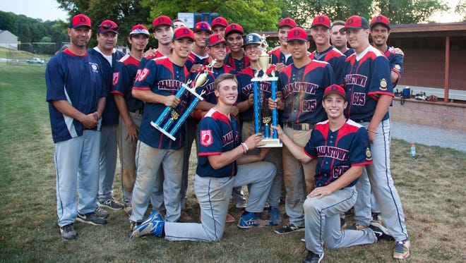 Dallastown players pose after winning the York Adams American Legion title Wednesday.