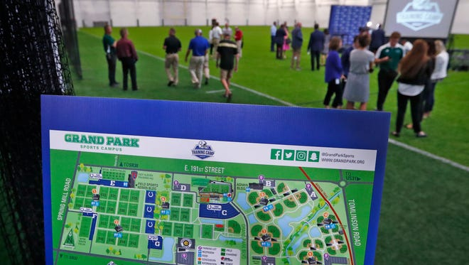 A map shows Grand Park, after a press conference, Wednesday, June 13, 2018, announcing the 2018 Indianapolis Colts Training Camp schedule, at Grand Park Sports Campus in Westfield. The new venue for camp will allow for a fan-focused camp experience for the 35th Colts season.