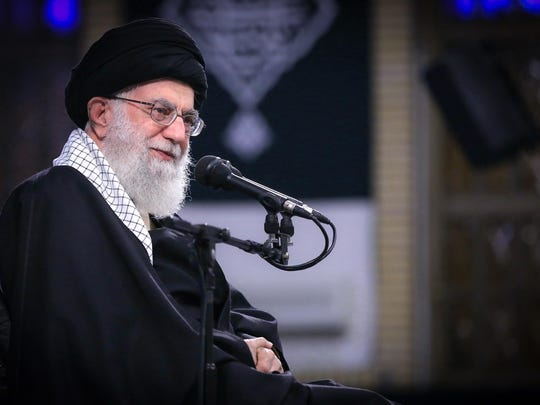 """In this picture released by an official website of the office of the Iranian supreme leader, Supreme Leader Ayatollah Ali Khamenei attends a meeting with a group of the air force staff in Tehran, Iran, Feb. 8, 2019. Khamenei is defending """"Death to America"""" chants that are standard fare at anti-U.S. rallies across Iran but says the chanting is aimed at America's leaders and not its people."""