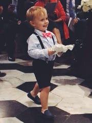 Wedding duties Luca Mussat, son of Katy and Hubert