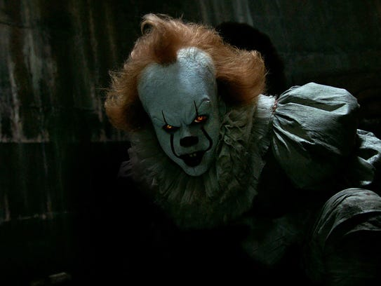 Bill Skarsgård as the evil clown Pennywise in 'It.'