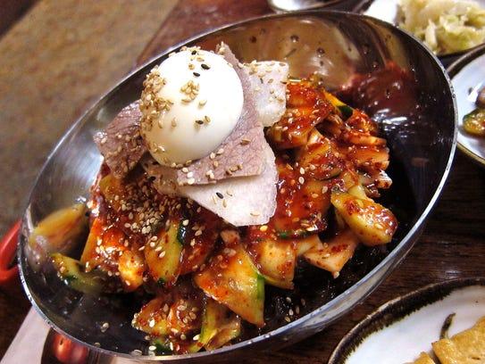 Bibim naeng myun (spicy chilled noodles) at Cafe Ga Hyang in Glendale.