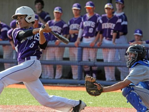John Jay's Jason Weinhaus (6) at bat during baseball Class A regional semifinals at Purchase College in Purchase on June 2, 2016. John Jay defeats Maine-Indwell 6-0.