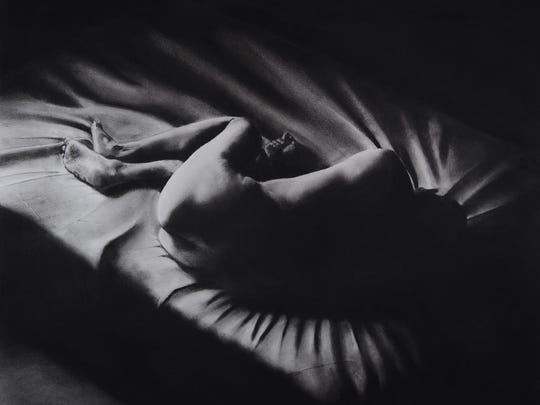 "Doug Schatz, ""Fall,"" 36"" x 42.5"", charcoal on paper."