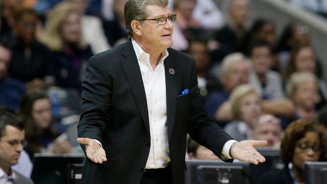 Connecticut head coach Geno Auriemma questions a call during the second half of an NCAA college basketball game against Mississippi State during an NCAA college basketball game in the semifinals of the women's Final Four, Friday, March 31, 2017, in Dallas.(AP Photo/LM Otero)