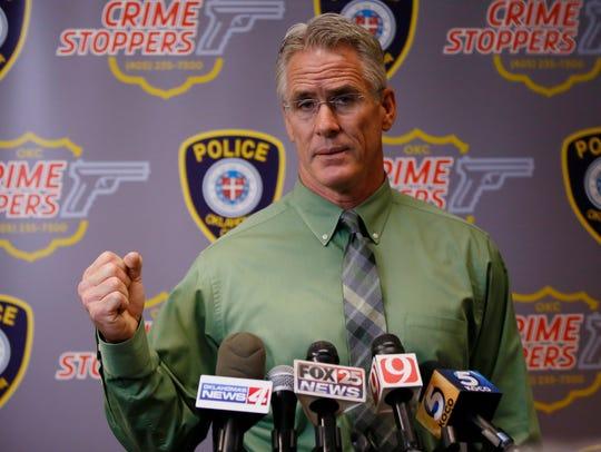 Oklahoma City Police Capt. Bo Mathews answers a question