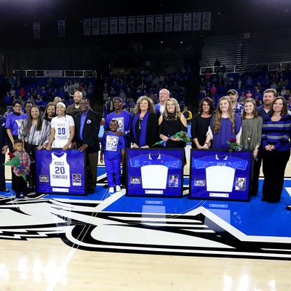 MTSU women's seniors were honored after the win over