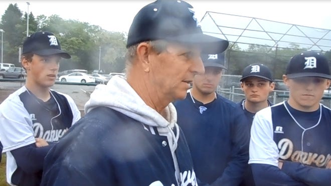 Amid the raindrops, Danvers High School baseball coach Roger Day talks to team after its 6-0 Division 2 North 2017 quarterfinal round win over Melrose at the Twi. The Falcons went on to beat Burlington in Lynn, before beating Gloucester in the North title game, but more on that later.