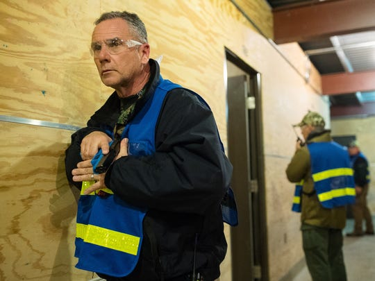 Police officers take part in active shooter training conducted by Advanced Law Enforcement Rapid Response Training: Center in Maxwell on Feb. 14.