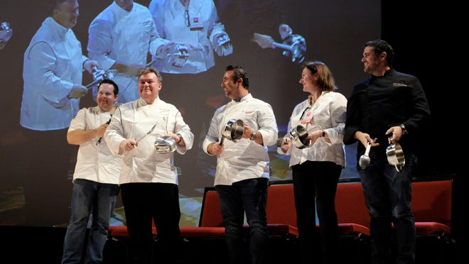 """Chefs """"ring in"""" Hudson Valley Restaurant Week on Tuesday at the Culinary Institute of America in Hyde Park. From left are Eric Gabrynowicz-Restaurant North, Peter Xavier Kelly-Xaviars Restaurant Group, Vincent Barcelona-Admiration Foods, Agnes Devereux-The Village Tearoom Restaurant & Bakeshop and Josh Kroner-Terrapin Restaurant."""