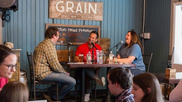 """Dogfish Head founder Sam Calagione guests on The News Journal's """"Hi I'm In Delaware!"""" podcast at Grain Craft Bar + Kitchen in Newark on Wednesday, April 20."""