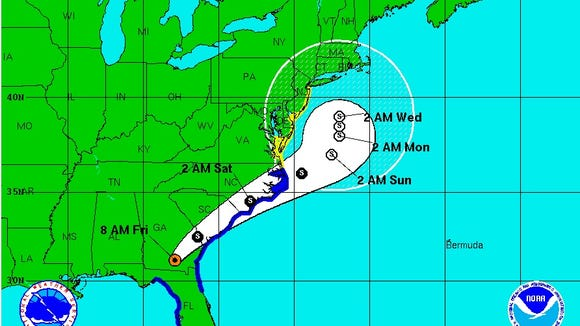 This image from the National Hurricane Center shows the projected storm track for Hermine as of Friday morning (Sept. 2, 2016).