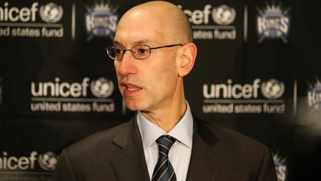 NBA Commissioner Adam Silver addresses the media before the game between the Golden State Warriors and Sacramento Kings at Sleep Train Arena.