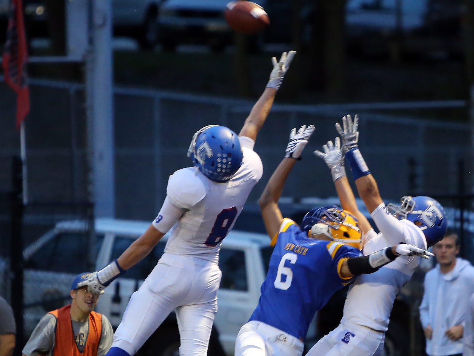 Wide receiver Trent Wrobleski goes up high but can't come down with the pass in the end zone for the Thoroughbreds.