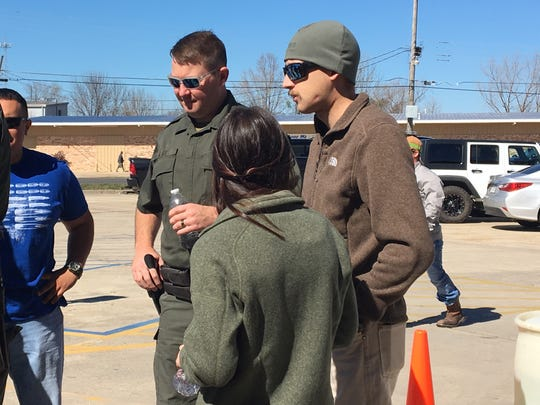 Tyler and Haley Wheeler stopped by a fundraiser at TP Outdoors in Monroe on Thursday.