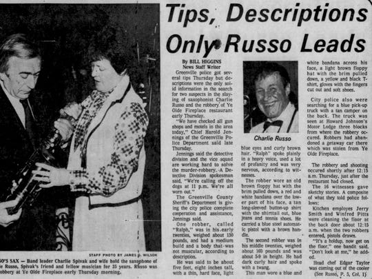 A front page article about the death of Charlie Russo.