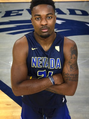 Nevada basketball player Jordan Caroline poses for a portrait in Lawlor Events Center.