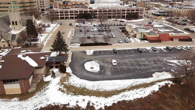 """The Appleton """"bluff site,"""" seen in this aerial photo, includes the now-closed Trinity Lutheran Church and Michiels Fox Banquets/Rivertyme Catering."""