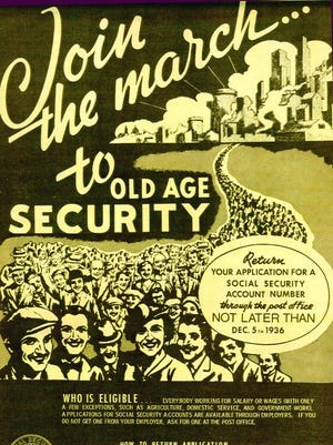 A 1936 poster for Americans to sign up for Social Security.