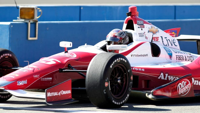 "Marco Andretti called the seams on the track at Auto Club Speedway ""terrible."""