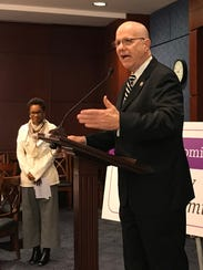 Rep. Ted Poe, R-Texas, speaks at a domestic violence event sponsored by Saving Promise and the Harvard school of public health at the Capitol on Feb. 15, 2018.